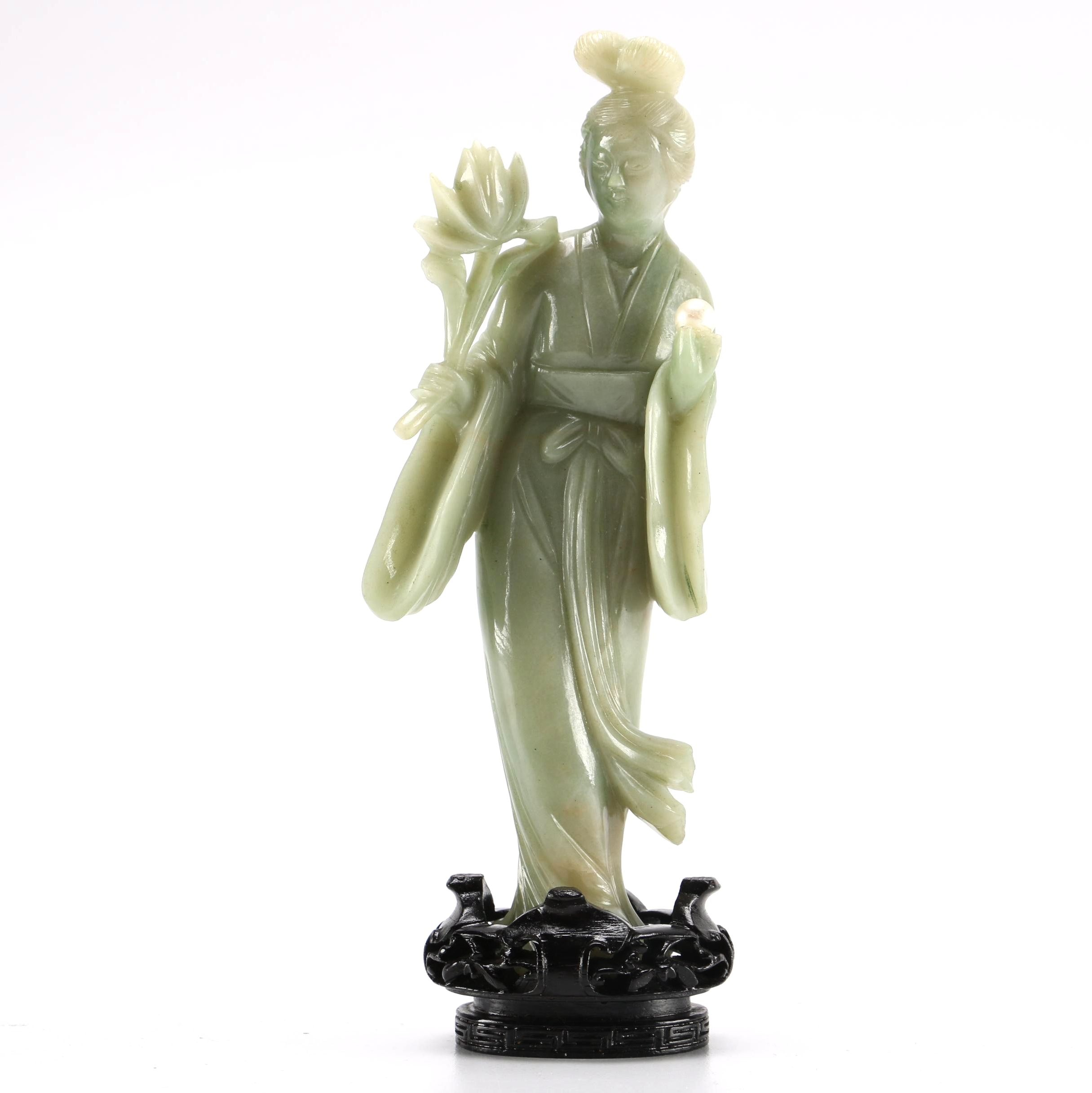 Chinese Aventurine and Cultured Pearl Statue