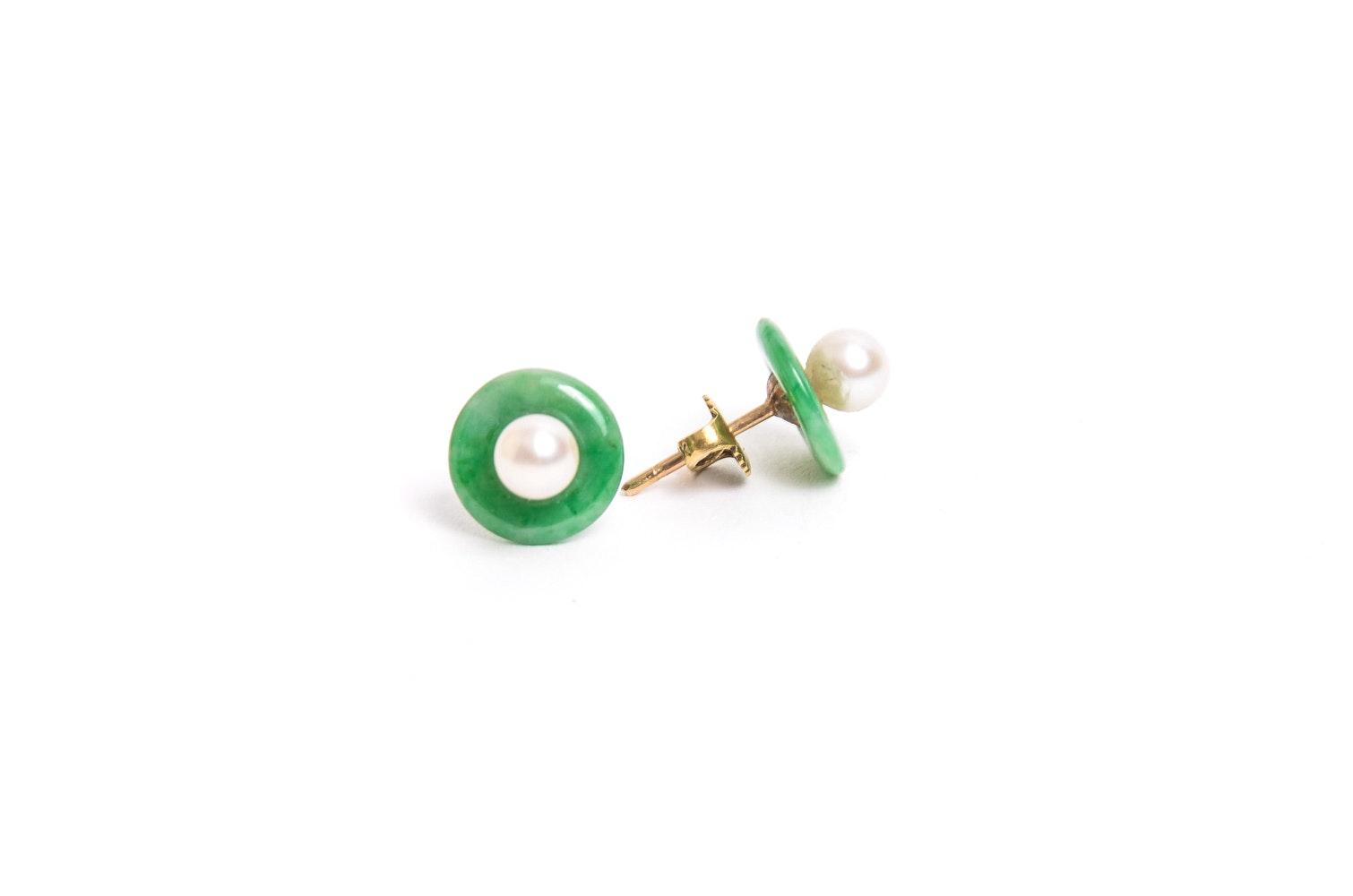 14K Gold Pearl and Jadeite Earrings
