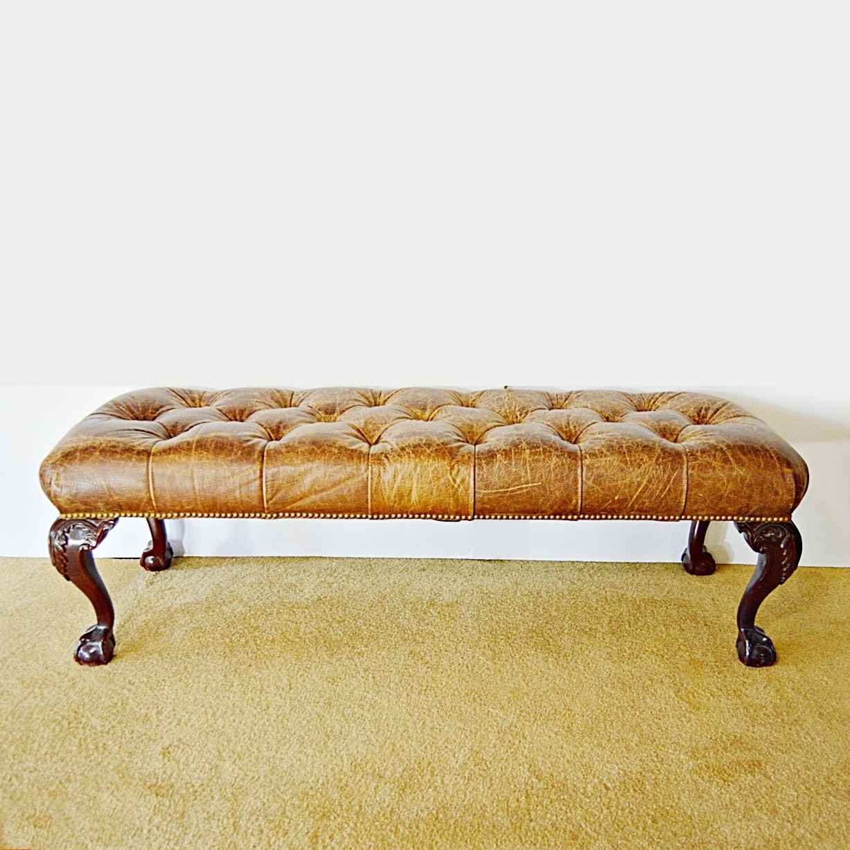 Buttoned-Tufted Distressed Leather Bench