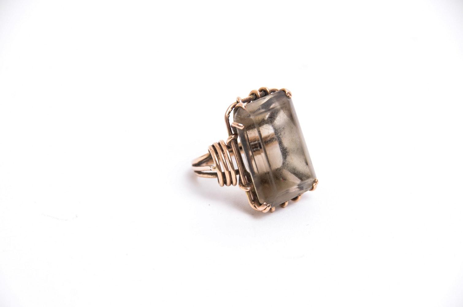 14K Gold and 35.00 CT Smoky Quartz Ring