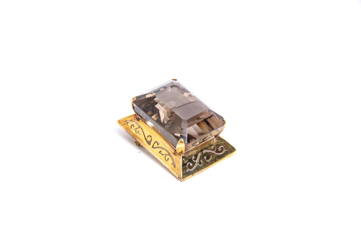 14K Gold and 95 CT Smokey Quartz Brooch Pendant