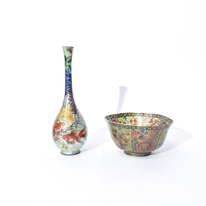 Chinese Cloisonné Bowl and Bud Vase