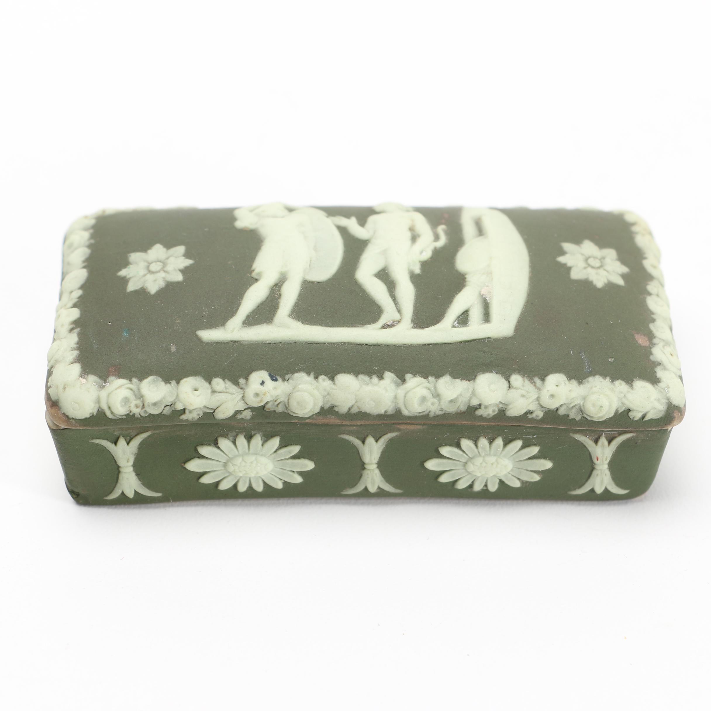 Wedgwood Green Jasperware Trinket Box