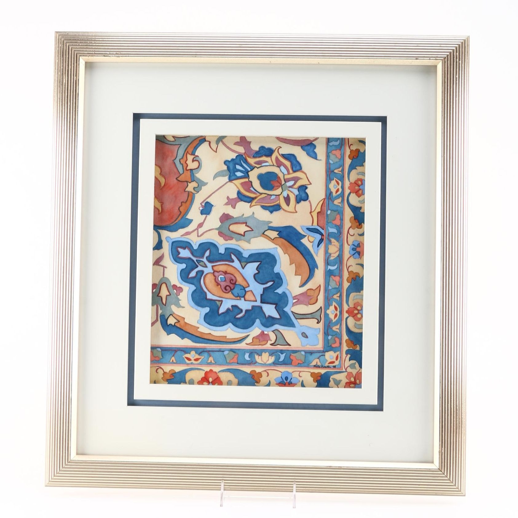 Kate Nowlin 1998 Watercolor on Paper of Floral Pattern