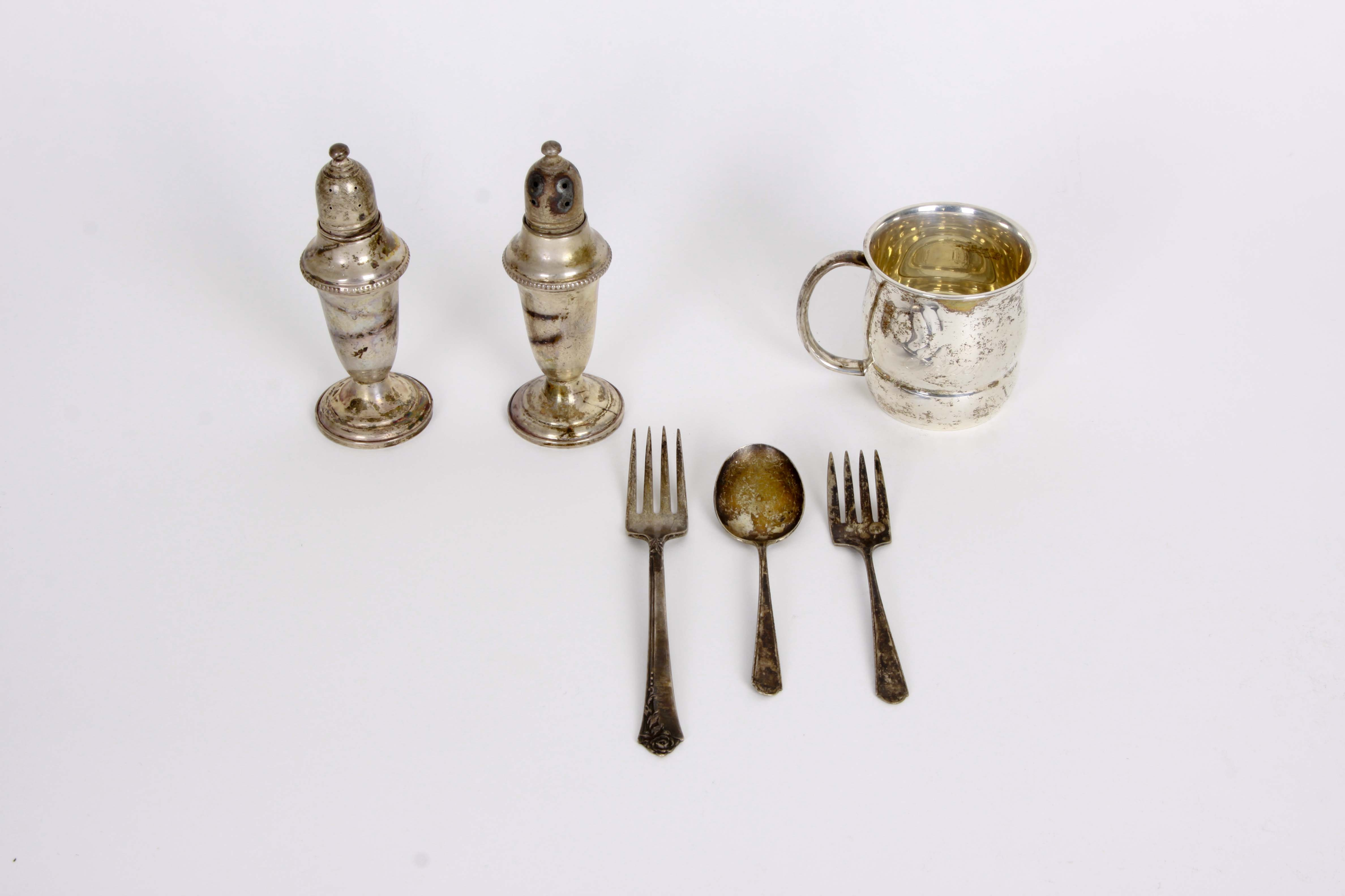 Empire Sterling Silver Salt and Pepper Set and Assorted Sterling Tableware