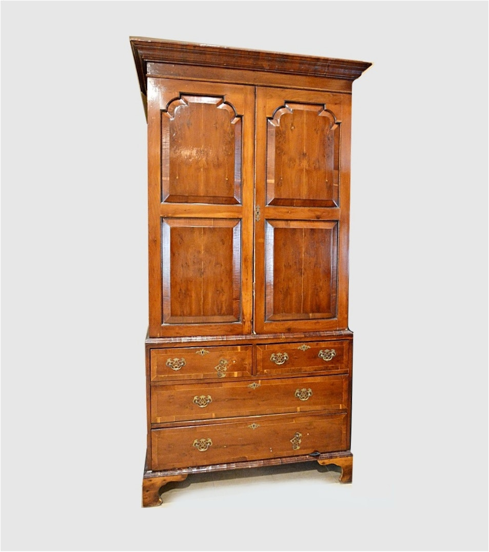 Antique Linen Press, Fruitwood Veenered, Chippendale in Style