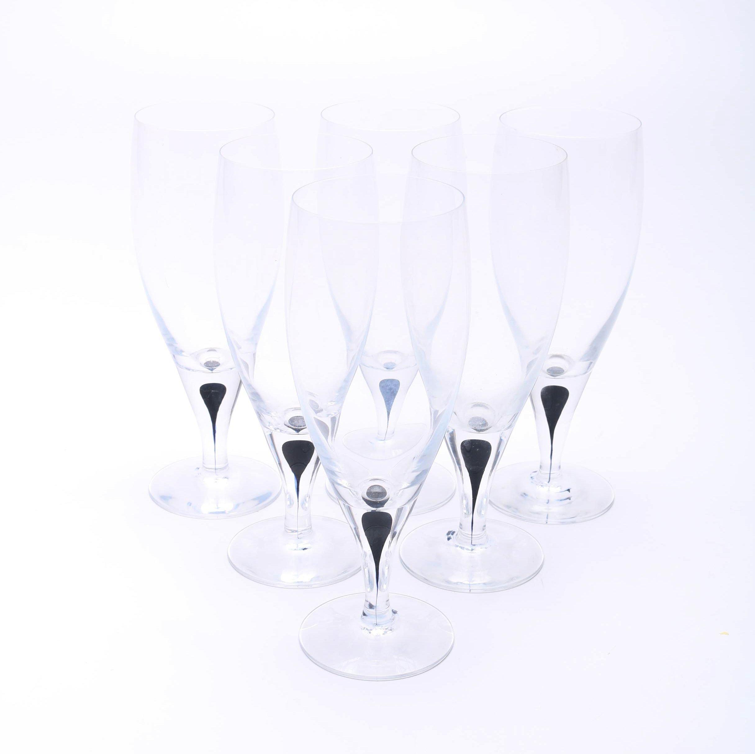 """Orrefors """"Intermezzo Blue"""" All Purpose Wine Glasses"""