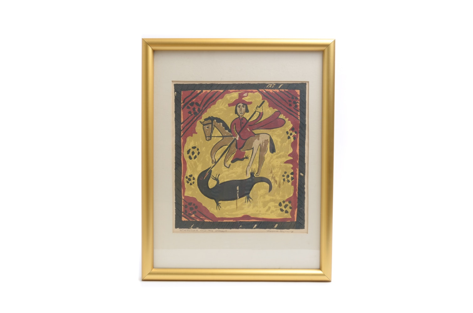 """Hand Pulled Print on Paper Titled """"St. George and the Dragon"""""""