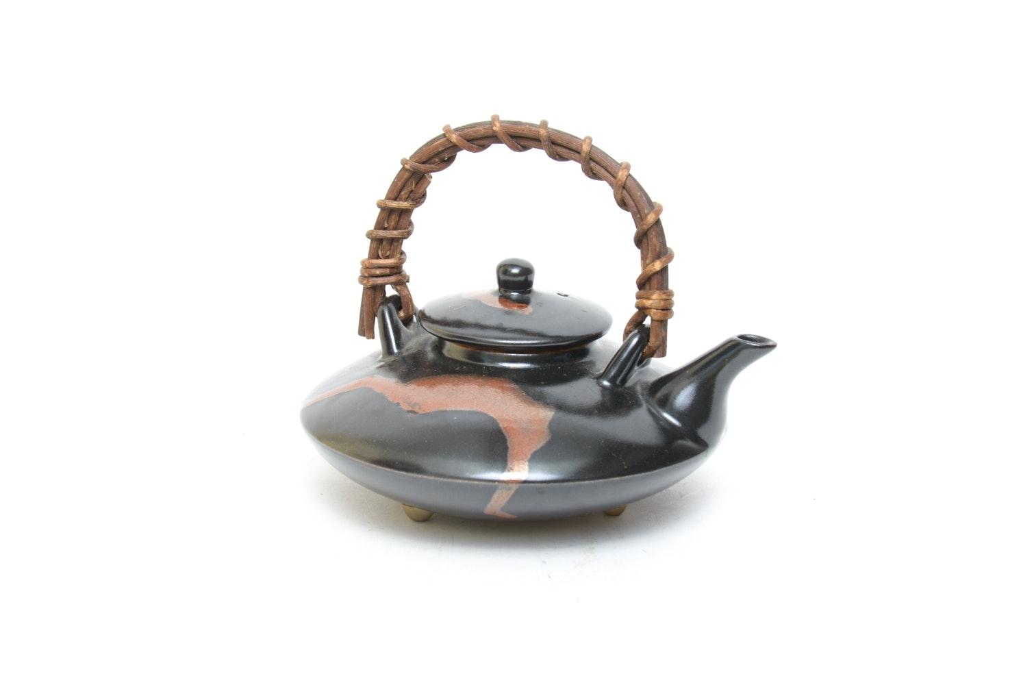 Japanese Ceramic Teapot with Vine Handle