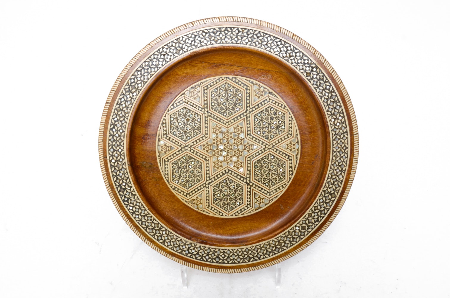 Persian Khatam Mother of Pearl and Bone Inlaid Wooden Plate