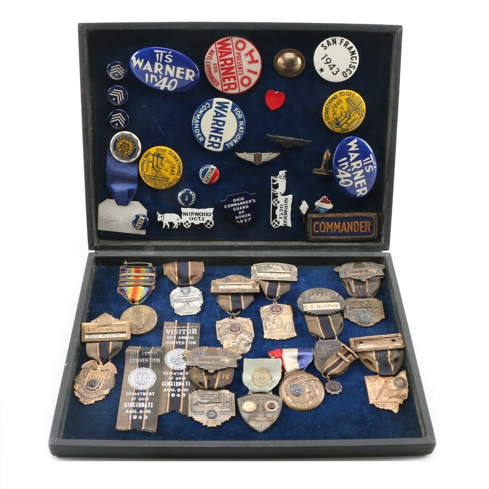 Circa 1937-41 American Legion Convention Pins with Ribbons