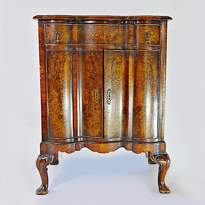 Antique Queen Anne Style Burl Walnut Cabinet