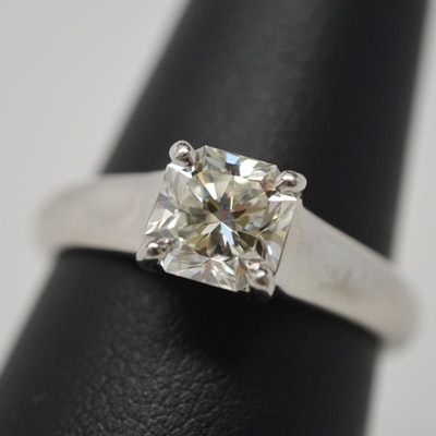 "Tiffany & Co. Platinum 1.19 Cts ""Lucida"" Diamond Ring With Tiffany and GIA Certificate"