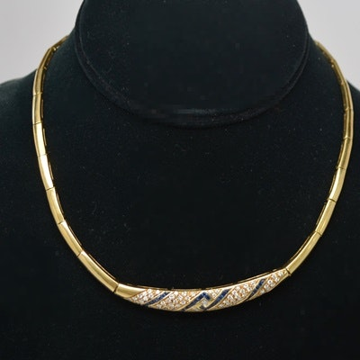Fred Joaillier 18K Yellow Gold Diamond and Sapphire Necklace