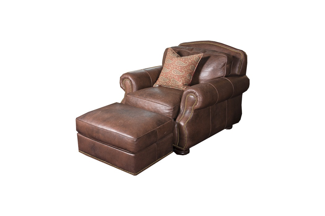 Hancock & Moore Leather Armchair and Ottoman