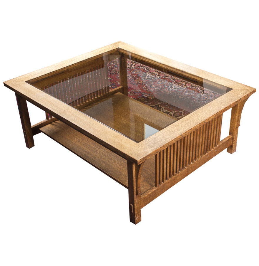 Stickley Mission Style Oak Coffee Table With Glass Top Ebth