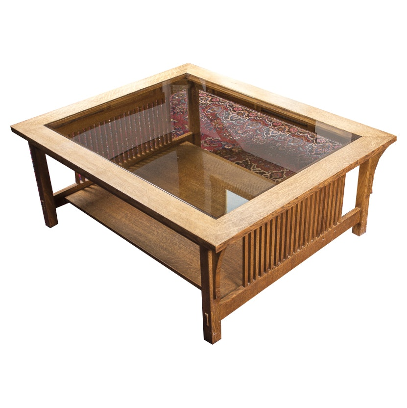 Stickley Mission Style Oak Coffee Table With Glass Top ...