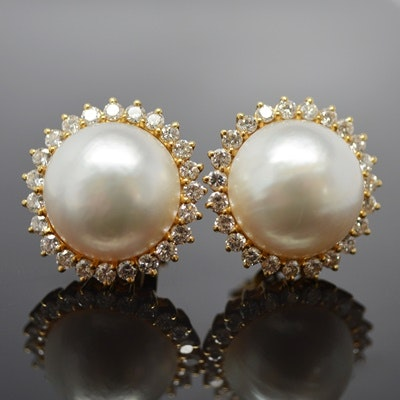 18K Yellow Gold Mabe Pearl and Diamond Pierced Earrings