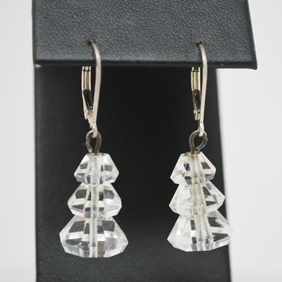 Art Deco Sterling Silver Quartz Crystal Pierced Earrings