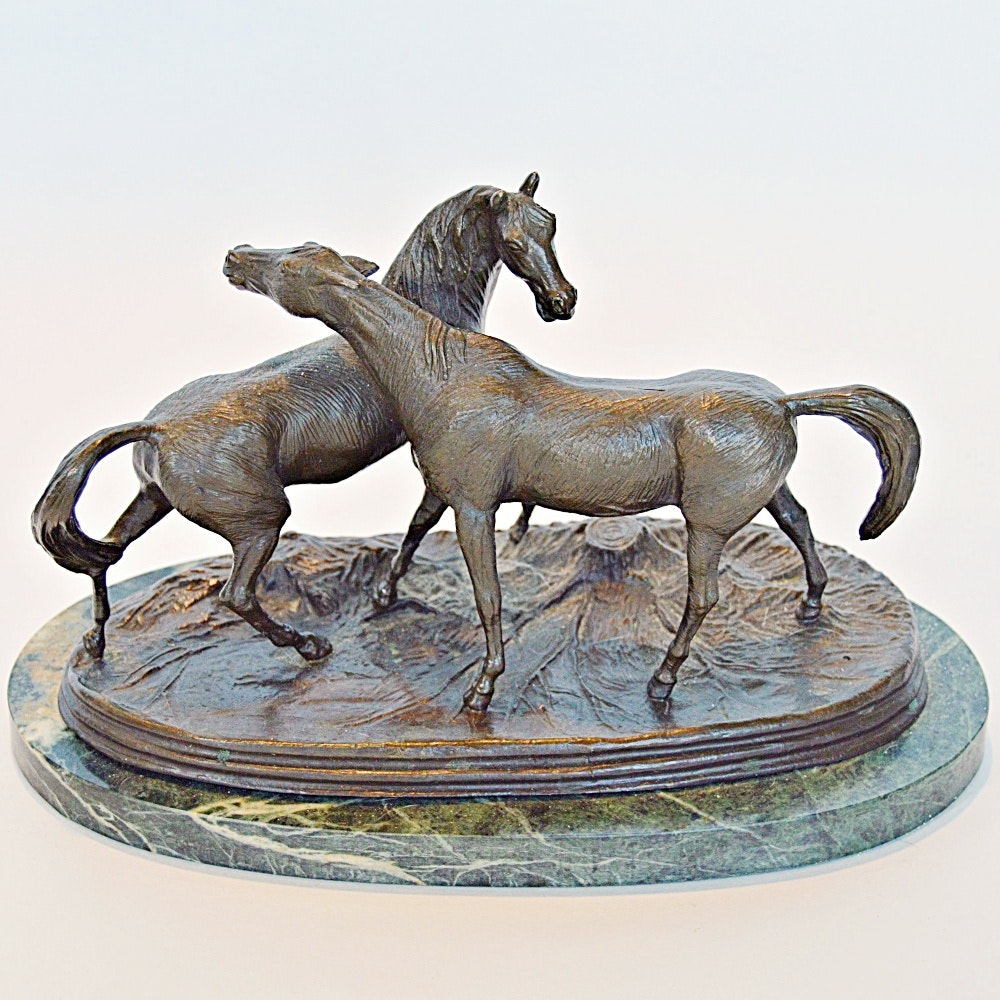 "After Pierre Jules Mene Bronze Horse Sculpture ""L' Accolade"""