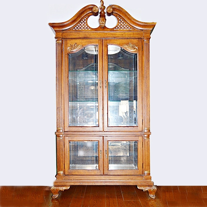 Queen Anne Style Lighted China Cabinet