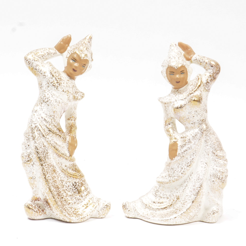 Pair of Southeast Asian Inspired Porcelain Figurines
