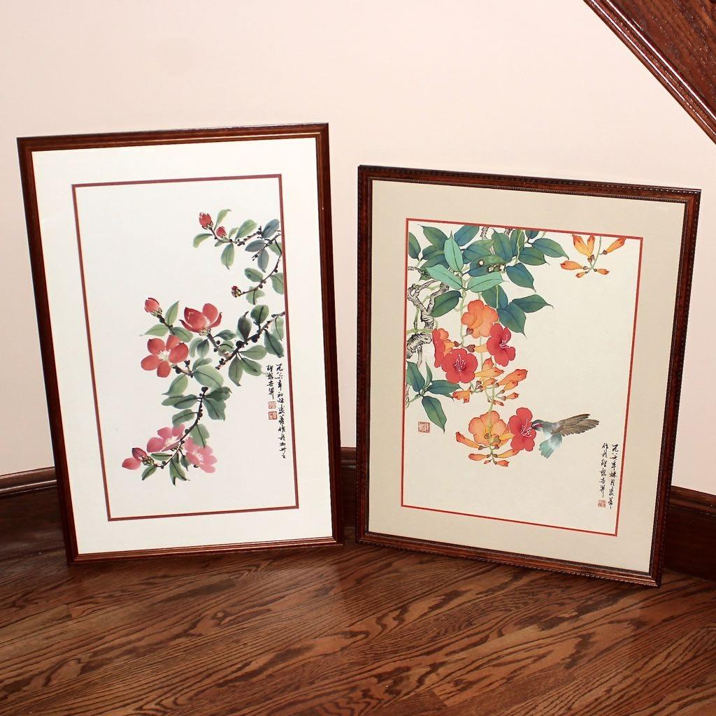 Chinese Original Floral Watercolors