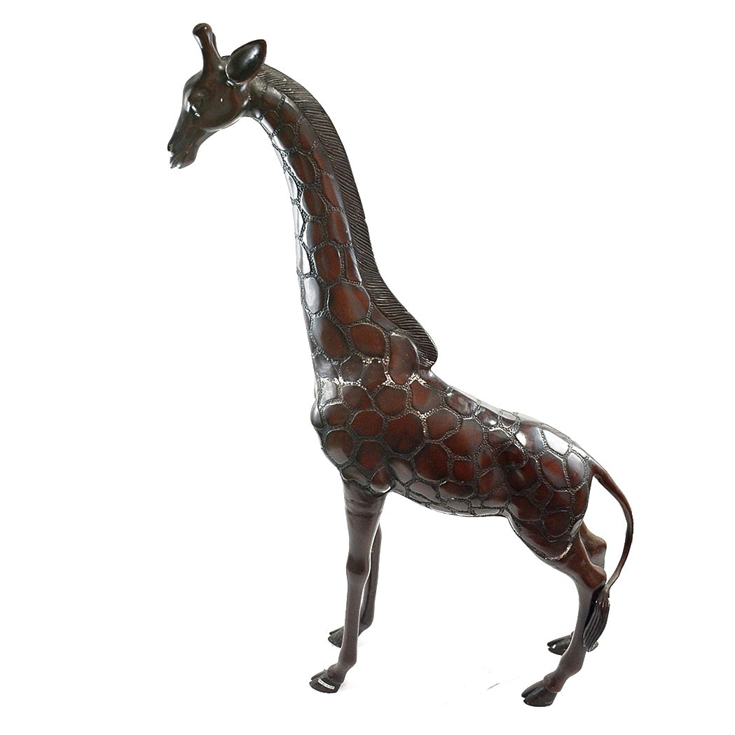 Large Brass Sculptural Giraffe Decor