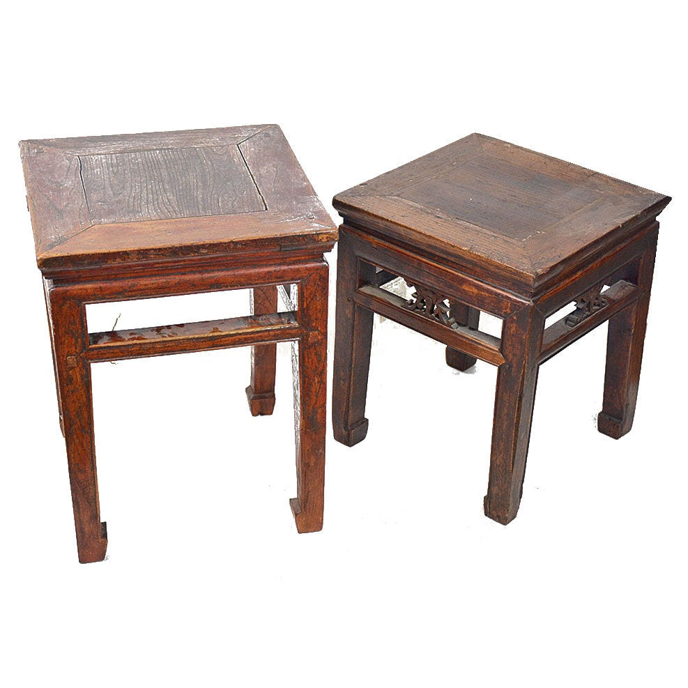 Antique Chinese Oak Side Tables