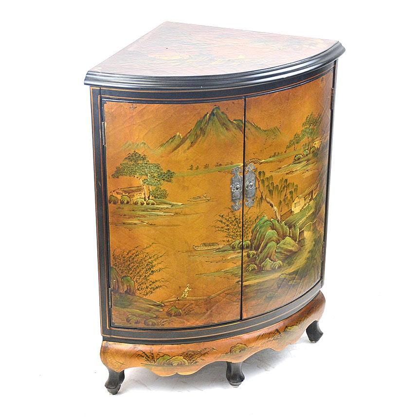 Hand Painted Chinoiserie Corner Cabinet