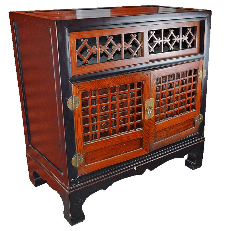 Oak Chinese Apothecary Cabinet