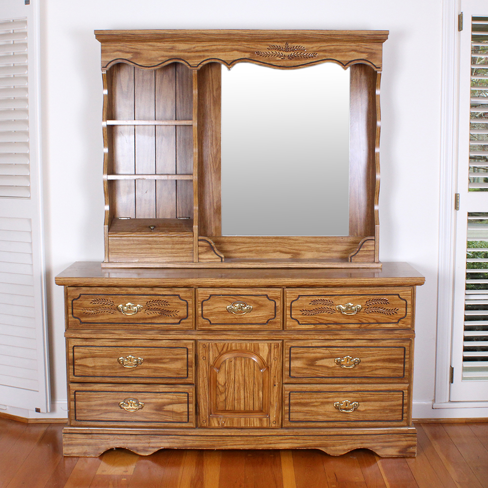 Oak Veneered Vanity Dresser With A Mirror And Shelving Unit
