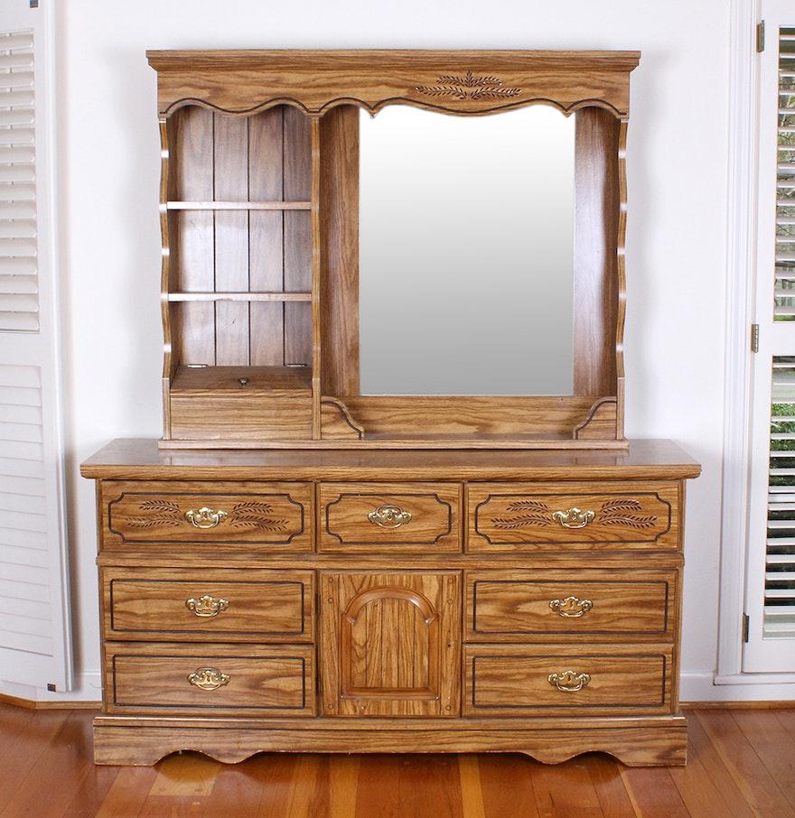 Oak Veneered Vanity Dresser With a Mirror and Shelving Unit. Vintage Bathroom Vanity   Used Bathroom Vanities for Sale in
