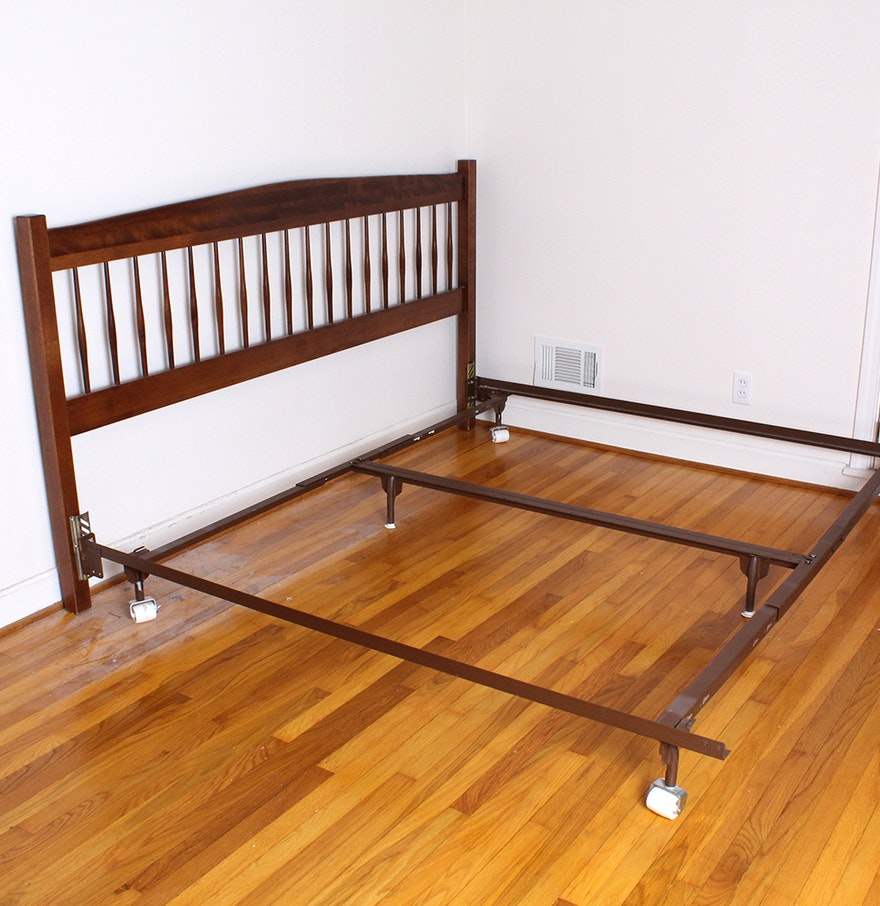 king size bed frame with wooden headboard by moosehead
