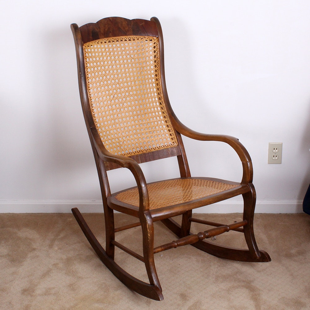Early 20th Century Walnut Cane Seat Rocking Chair