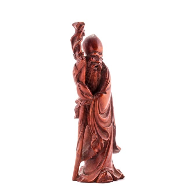 20th Century Chinese Rosewood Sculpture of God of Longevity