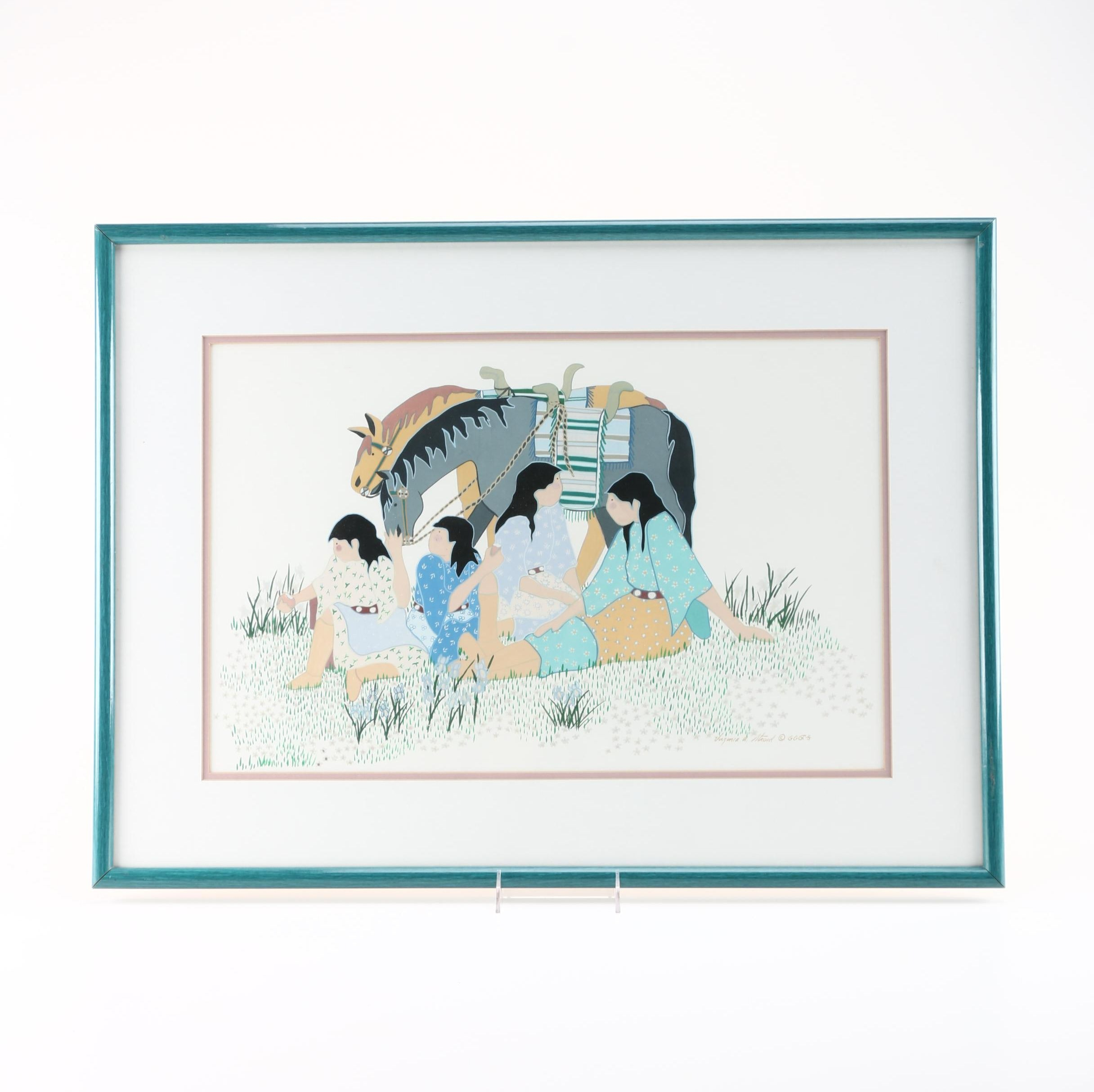 Virginia Stroud Gouache Painting on Paper of Native American Scene