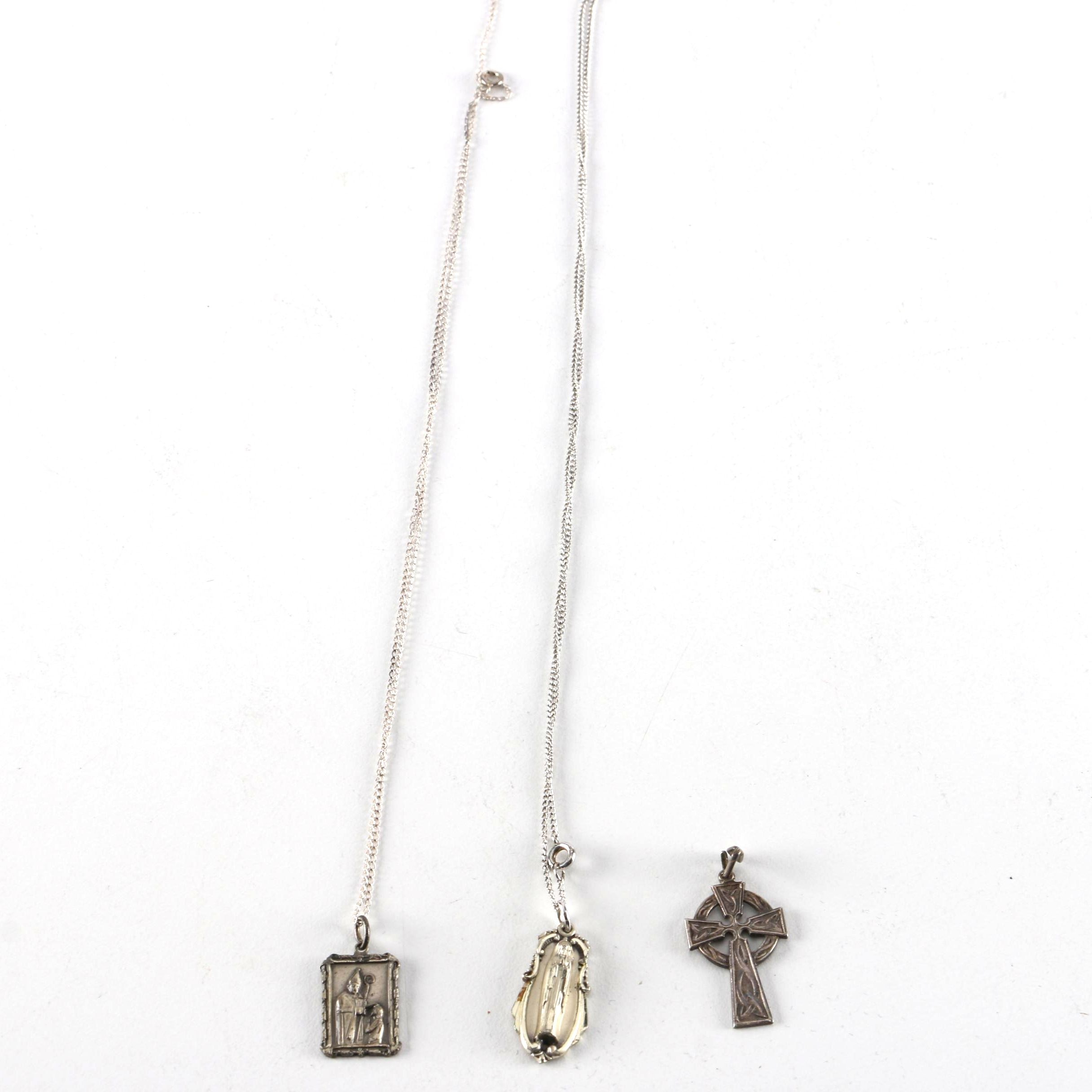 Necklaces Including Sterling Silver and Religious Pendants