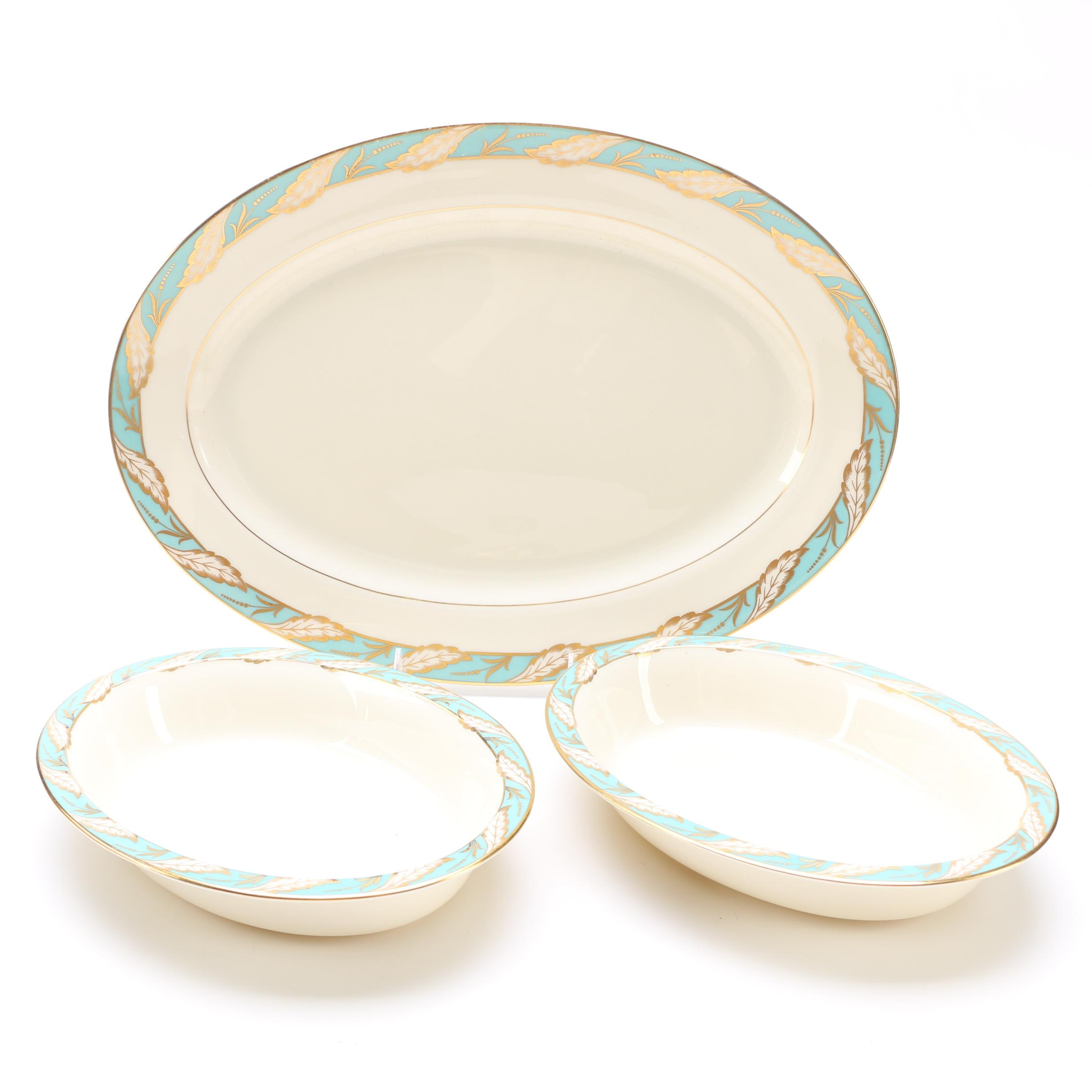 "Lenox ""Bellevue Sea-Green"" Serving Set"