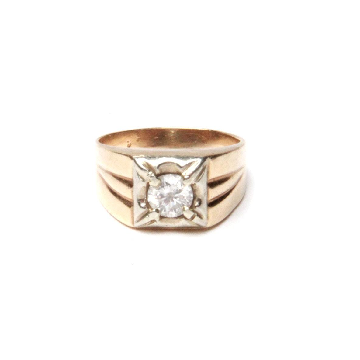 14K Yellow and White Men's Diamond Ring