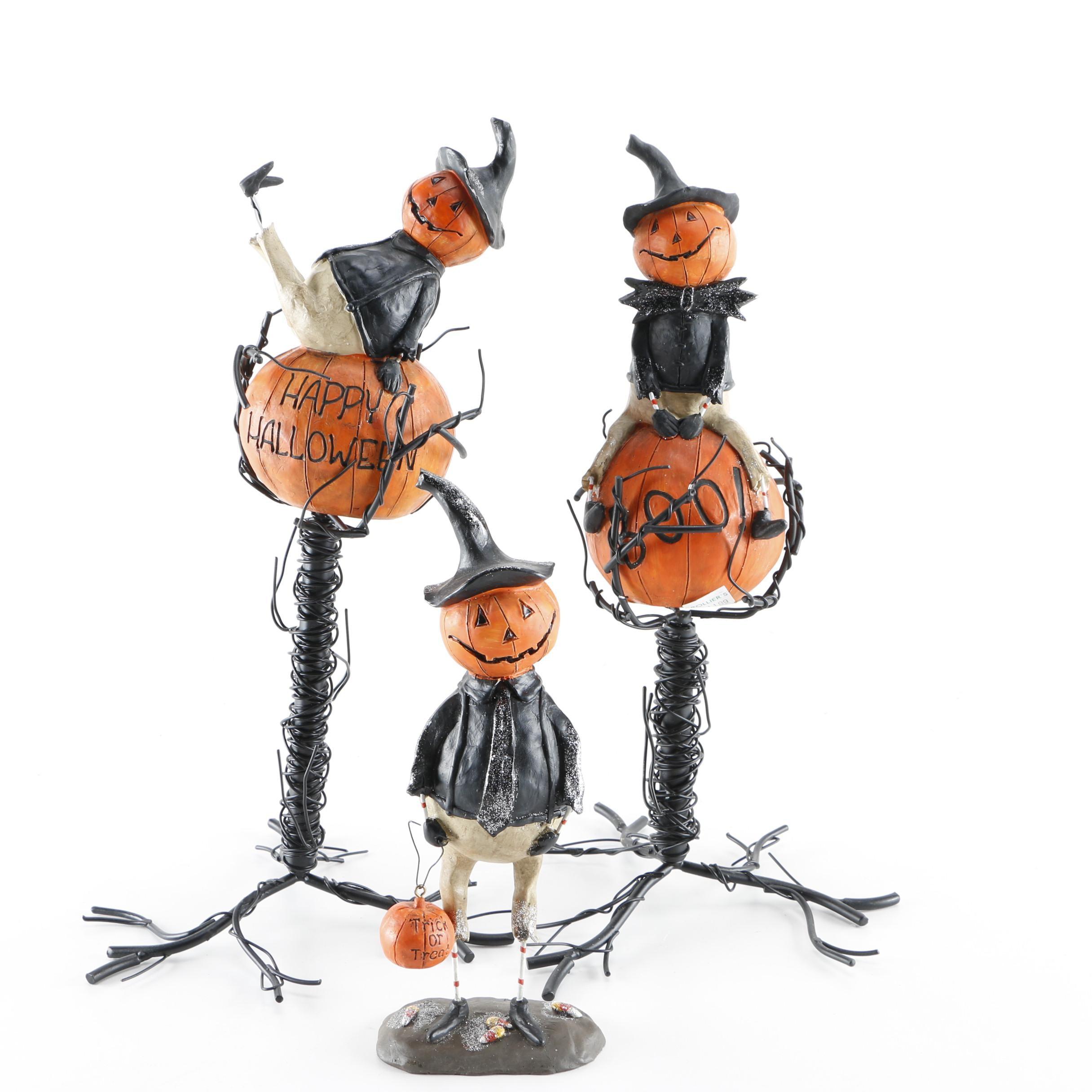Wire Sculpture Jack-O-Lantern Figurines