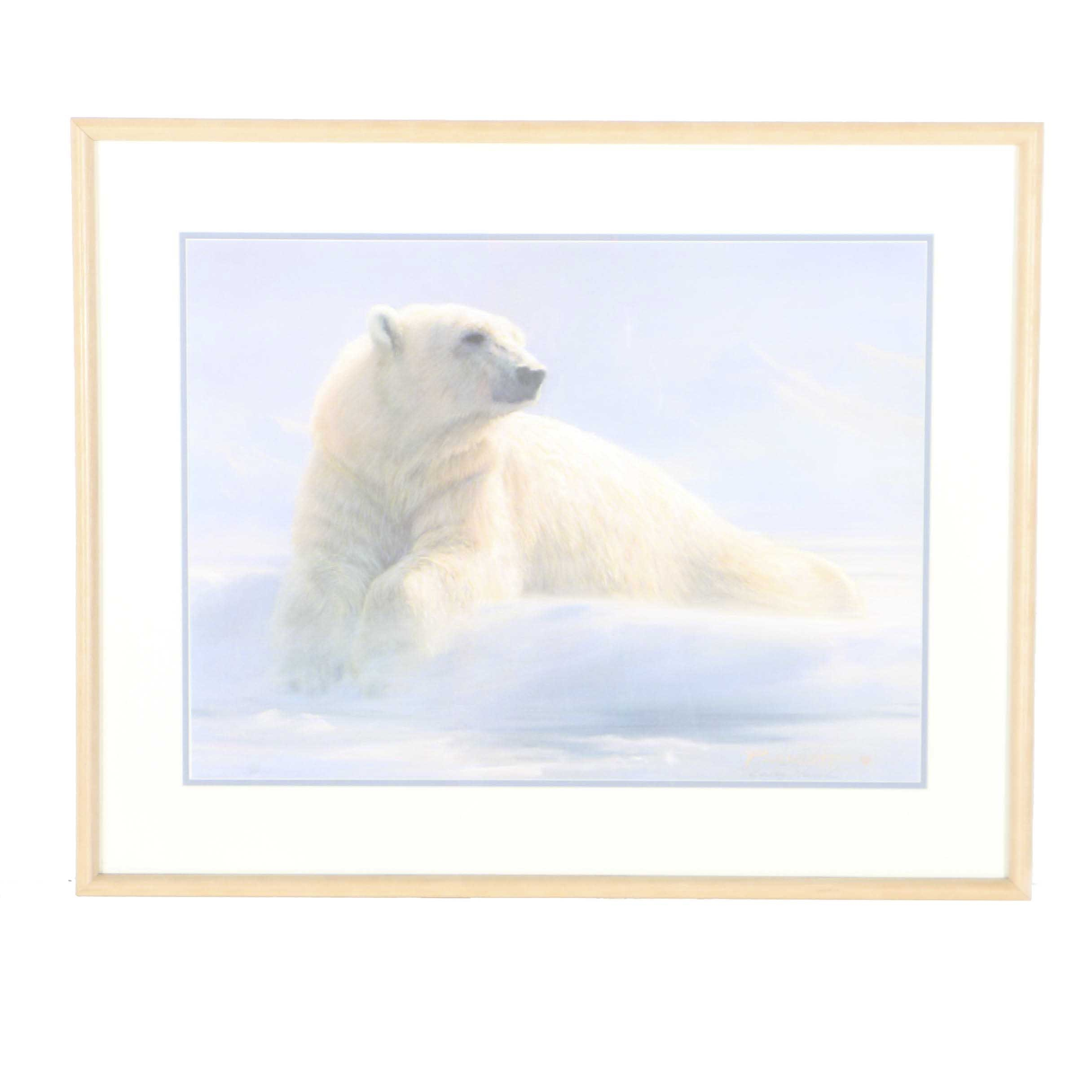 "Bradley Parrish Limited Edition Offset Lithograph ""Polar Bear"""