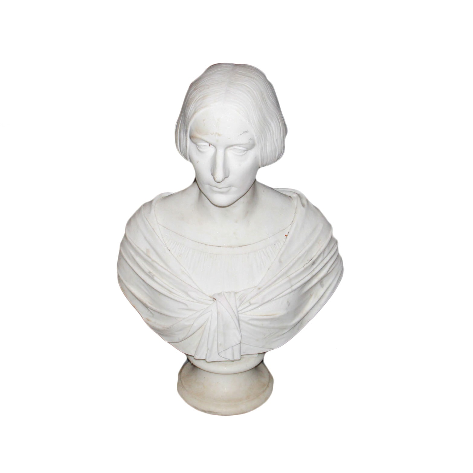 """""""G. Nucci F. Roma"""" 1857 Marble Bust of Woman"""