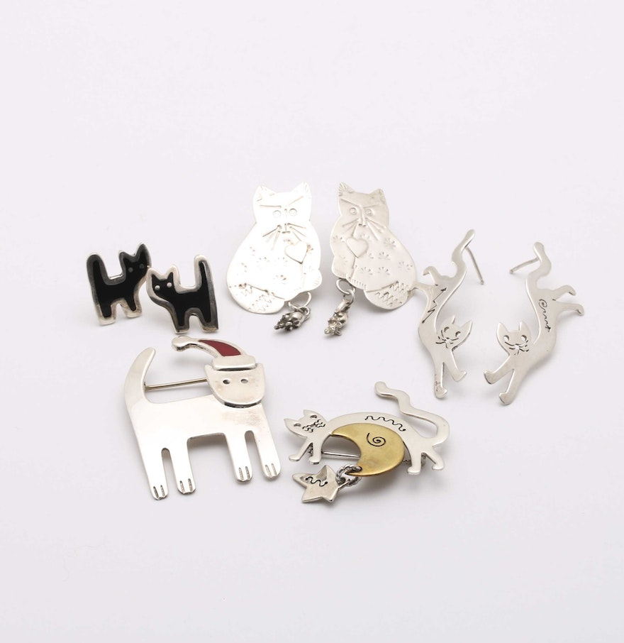 Sterling Silver Cat Earrings And Brooches Including Anne Harvey