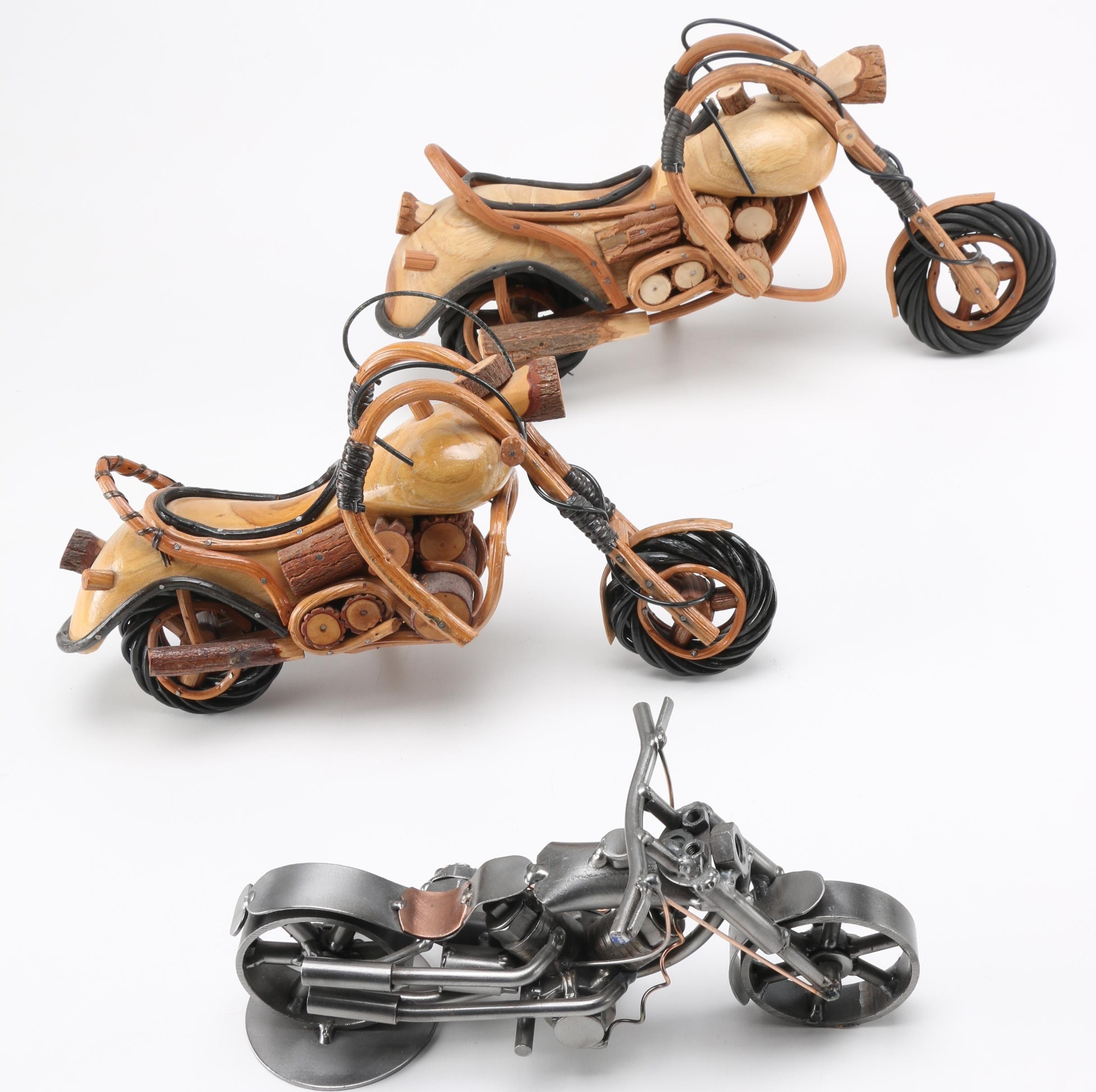 Group of Carved Wooden and Soldered Metal Motorcycles