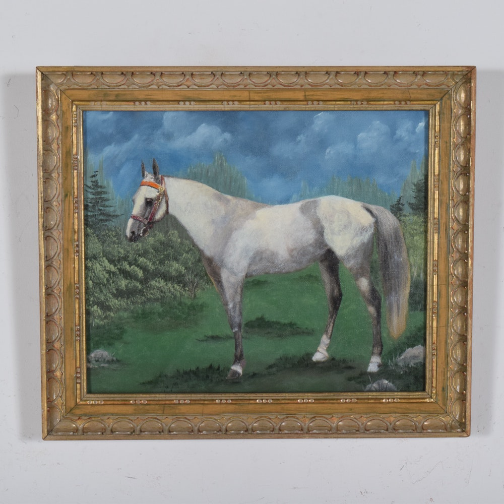 Equestrian Oil on Canvas Painting