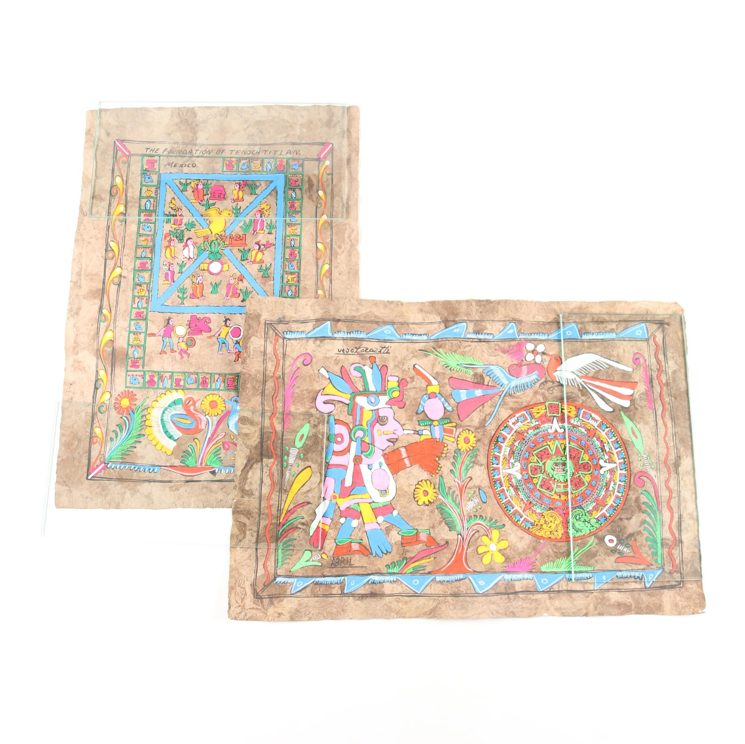 Abril Acrylic on Bark Paper Folk Art Paintings