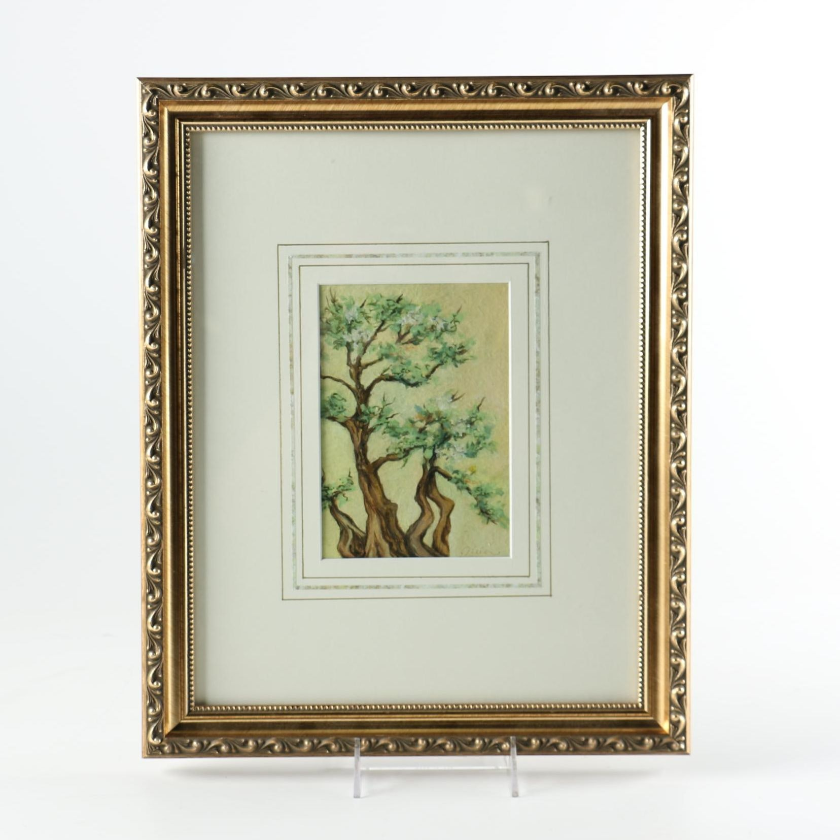Framed Original Oil Painting of Tree Branches