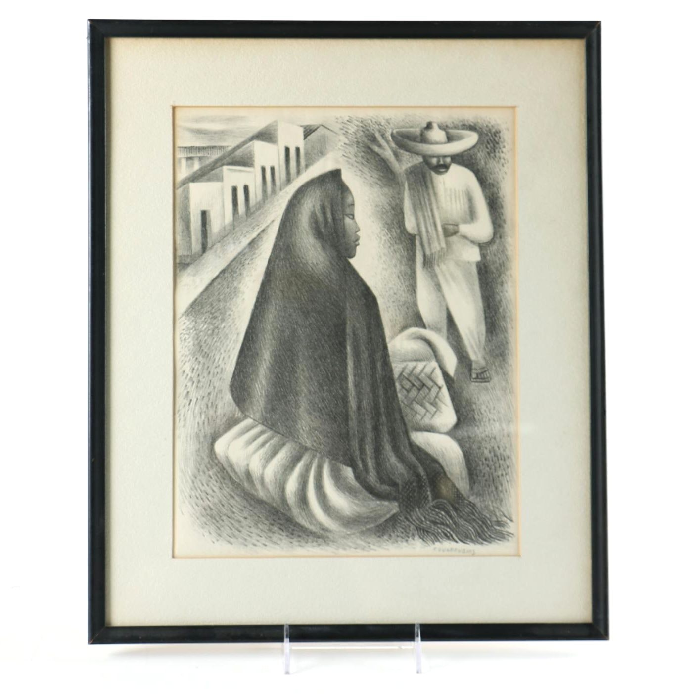 """Miguel Covarrubias Lithograph on Paper """"Mexican Street Scene"""""""