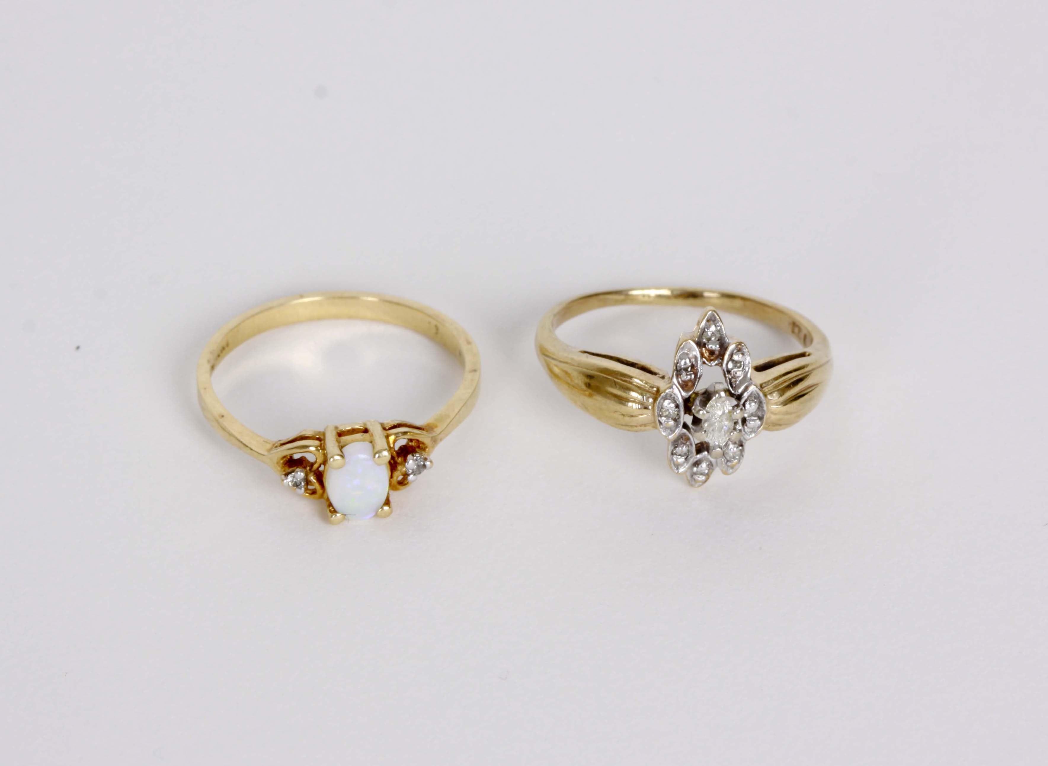 10K Gold Diamond Ring and 10K Gold Diamond Opal Ring